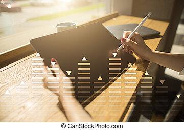 handl lagr, data, analyse, diagram, kort, graph, på, virtuelle, screen., branche teknologi, concept.