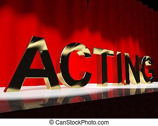 handlande, ord, scen, visande, drama, utförande, in, a,...