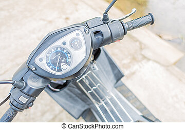 Handle bar of a moped - Handle bar of a small motorbike from...
