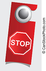 Handle door with stop sign , vector