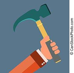 handle., equipment., herstelling, hamer, klauw, hand., rubber