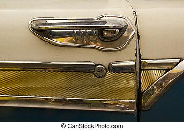 handle of antique car - lever antique car. Old Havana, ...