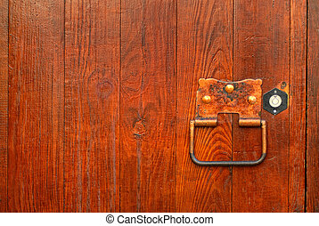 handle on the wooden door