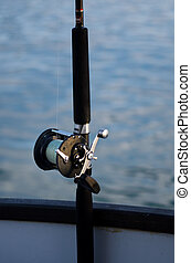 Handle rod on a fishing boat