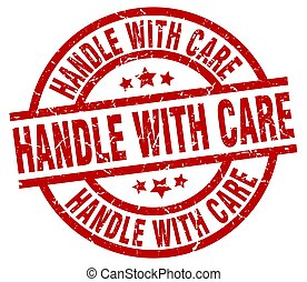 handle with care round red grunge stamp