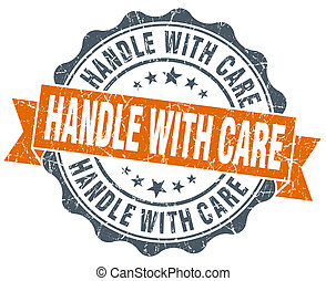 handle with care vintage orange seal isolated on white