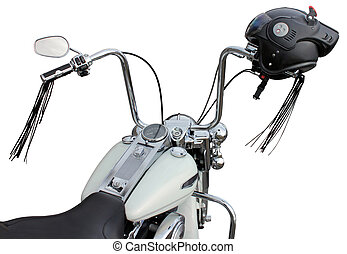 Handlebar and Helmet - Motorcycle handlebar with helmet. So...