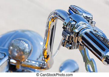Handlebar of a motorcycle - Chromed handlebar of a...