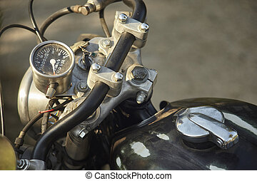 Handlebar of an old motorcycle left in time.