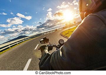 handlebars., 屋外, 細部, 写真撮影, オートバイ, 風景, 高山
