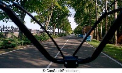 Handlebars on asphalt road background. Scooter riding...