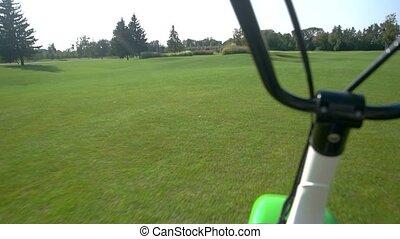 Handlebars on grass background.