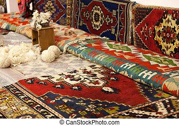 handleiding, fabriekshal, van, tapijt