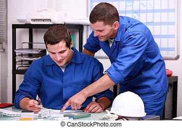 handleiding, werkmannen , in, een, kantoor