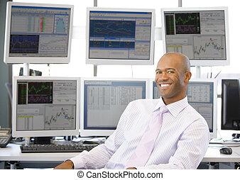 handlende, computer, forside, portræt, kontrolapparater,...
