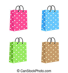 handles., brown., 粉紅色, set., 空白, 繩子, 袋子, 矢量, 紙, 綠色, 購物, 被隔离, 藍色