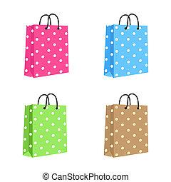 handles., brown., cor-de-rosa, set., em branco, corda, saco, vetorial, papel, verde, shopping, isolado, azul