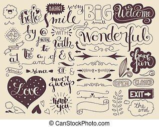 handlettering, elementos, palavras