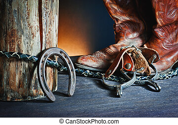 handling equipment - horseshoe, spurs, boots, whip and...