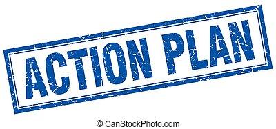 handling, frimærke, firkantet, plan