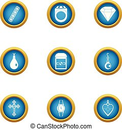 Handling icons set, flat style - Handling icons set. Flat...