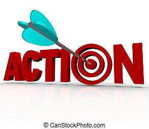 handling, måltavla, bulls-eye, ord, brådskande, behov, att...