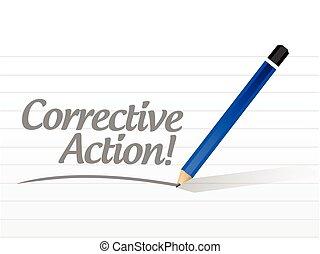 handling, meddelelse, korrektiv, illustration