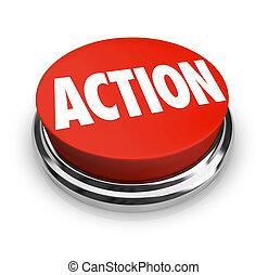 handling, ord, på, röd, runda, knapp, vara, proactive