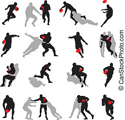 handling, silhuett, ge sig sken, grupp, rugby