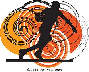 handling, spelare, basketboll
