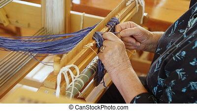 handloom, kaukaski, senior, stary, posiedzenie, sekcja,...