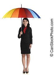 handlowa kobieta, parasol, dzierżawa, barwny