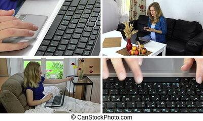 handlowa kobieta, praca, z, laptop, na, home., wideoklipy, collage.