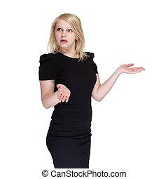 handlowa kobieta, przedstawiając, niejaki, copyspace., odizolowany, na, white.