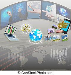 handlowa kobieta, ręka, rysunek, idea, deska, od, handlowy, proces