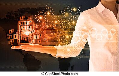 handlowa kobieta, sieć, dzierżawa, towarzyski