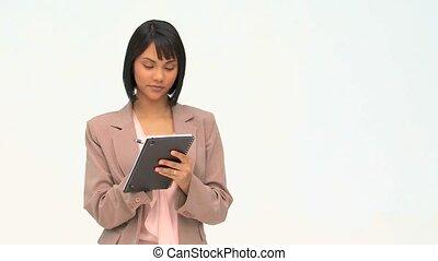 handlowa kobieta, w, formalny, garnitur, biorąc notatnik