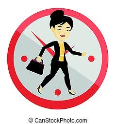 handlowa kobieta, wyścigi, na, zegar, tło.