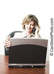 handlowa kobieta, z, laptop