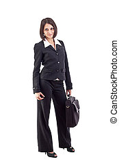 handlowa kobieta, z, laptop, torba