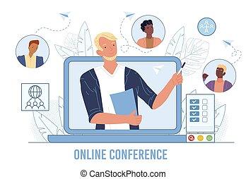 handlowa konferencja, przyjaciele, online, video, spotkanie