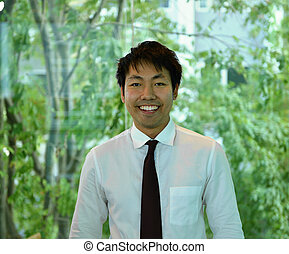 handlowa osoba, uśmiechanie się, asian, portret, uśmiechnięty człowiek