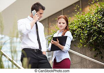 handlowa para, młody, pracujący