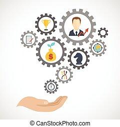 handlowa strategia, planowanie, ikona, płaski