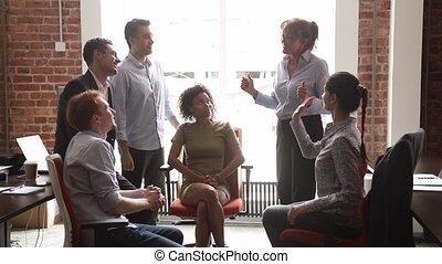 handlowe biuro, dawać, multicultural, wysoka piątka, mentor,...