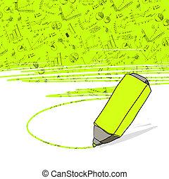 handlowe biuro, highlighter, pomyślny, żółty, highlighted,...