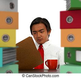 handlowe biuro, istota, administracja, przemęczony, dyrektor