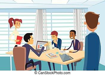 handlowe biuro, ludzie, spotkanie, biurko, dyskutując