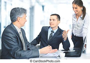 handlowe biuro, posiedzenie, praca, planowanie, drużyna