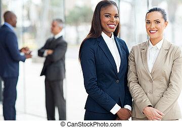 handlowe kobiety, w, biuro